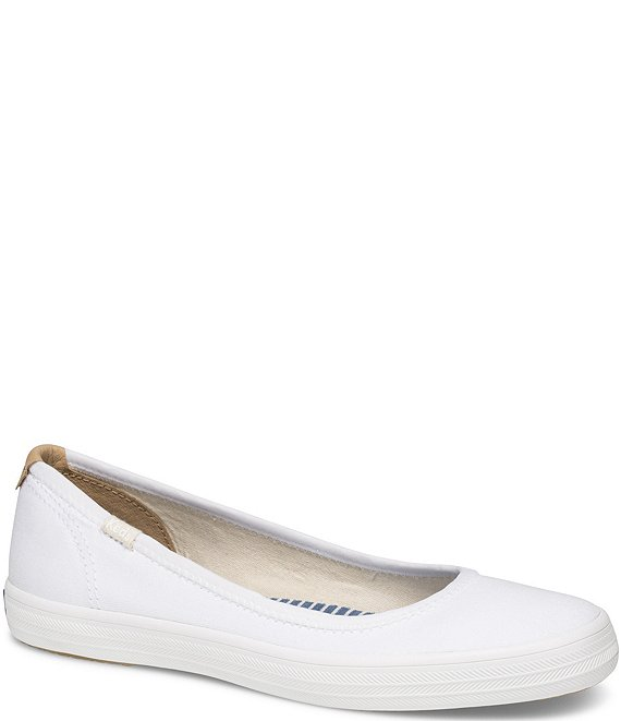 Color:White - Image 1 - Bryn Canvas Slip On Flats