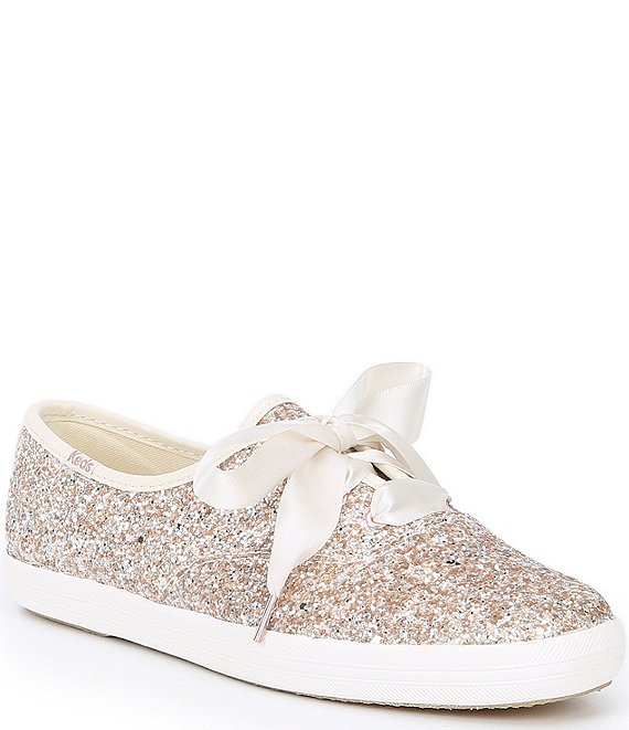 Color:Gold - Image 1 - Keds x kate spade new york Glitter Dipped Satin Lace Sneakers