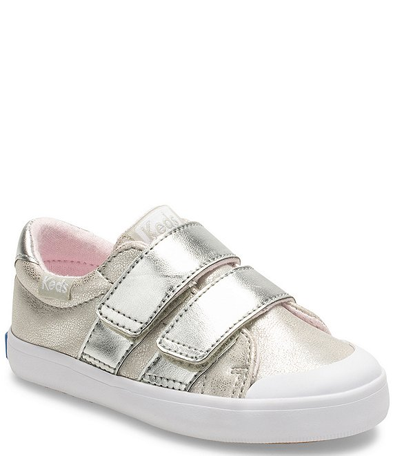 Color:Silver - Image 1 - Girls' Courtney Hook & Loop Sneakers (Toddler)