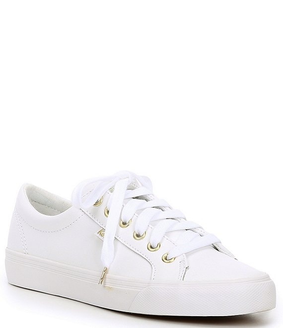 Color:White - Image 1 - Jumpkick Lace-Up Leather Sneakers