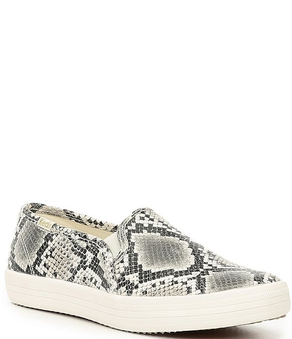 Color:Black/White - Image 1 - Kate Spade Double Decker Snake Print Slip On Sneakers