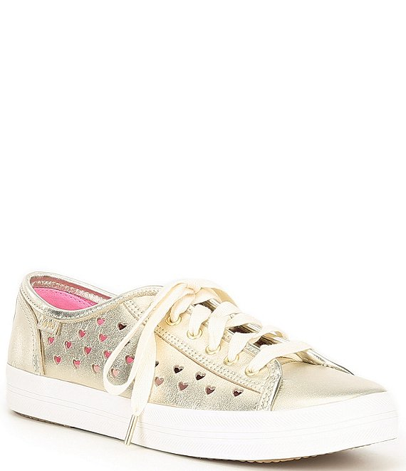 Color:Champagne - Image 1 - Kate Spade Kickstart Hearts Perforated Metallic Leather Sneakers