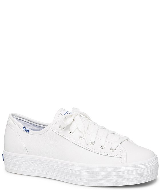 Color:White - Image 1 - Triple Kick Core Leather Platform Lace-Up Sneakers