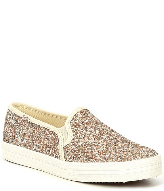 Color:Gold - Image 1 - x kate spade new york Double Decker Glitter Platform Sneakers