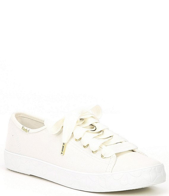 Color:White - Image 1 - x kate spade new york Kickstart Logo Foxing Sneakers