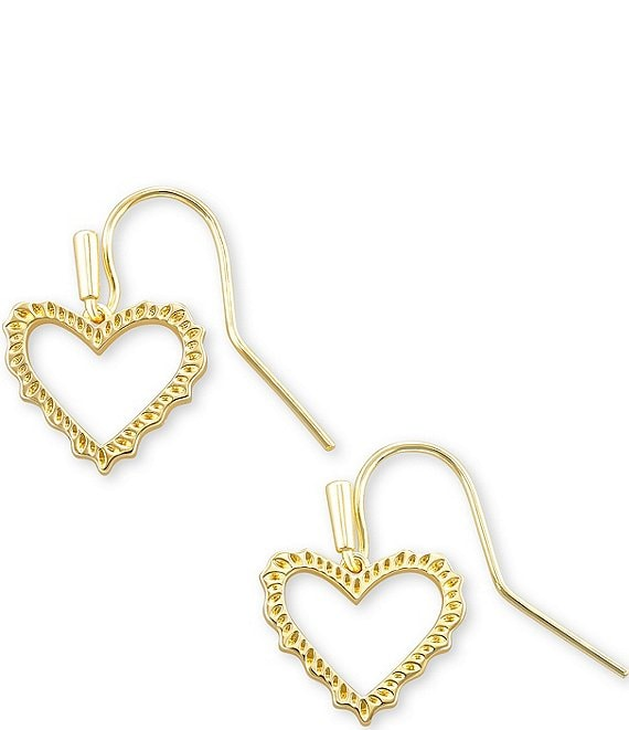 Color:14k Gold Plated - Image 1 - Sophee Heart Drop Earrings
