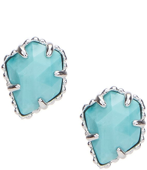 Color:Rhodium Turquoise - Image 1 - Tessa Ivory Mother of Pearl Earrings