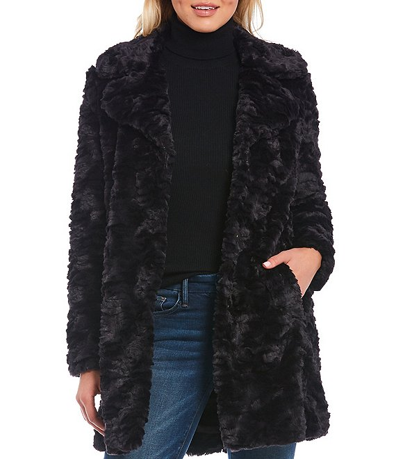 Color:Black - Image 1 - Grooved Faux Fur Notch Collar Coat