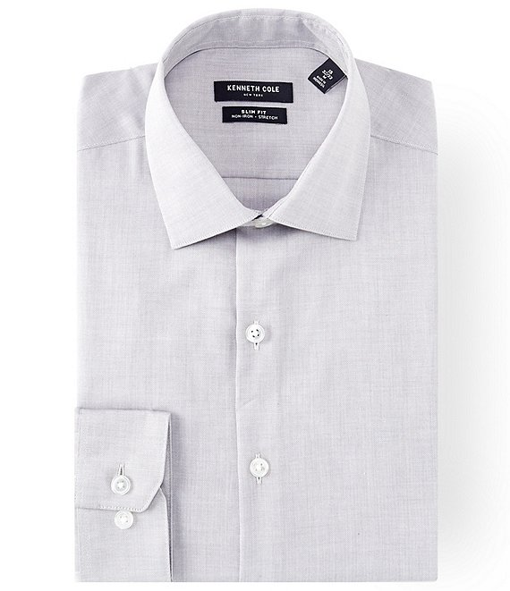 Color:Grey Frost - Image 1 - Non-Iron Slim Fit Spread Collar Solid Dress Shirt