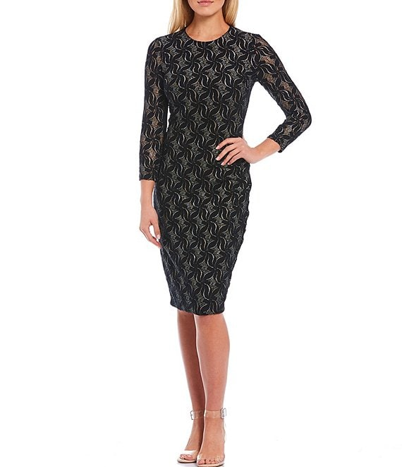 Color:Black Multi - Image 1 - 3/4 Sleeve Stretch Metallic Lace Sheath Dress