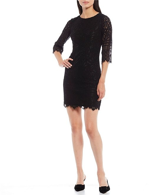 Color:Black - Image 1 - Elbow Sleeve Contrast Corded Lace Scalloped Sheath Dress