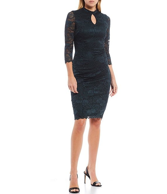 Color:Emerald - Image 1 - Mock Neck Keyhole 3/4 Illusion Sleeve Lace Sheath Dress