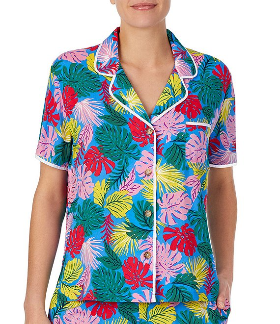 Color:Aqua Multi - Image 1 - Palm-Print Button Front Woven Sleep Top