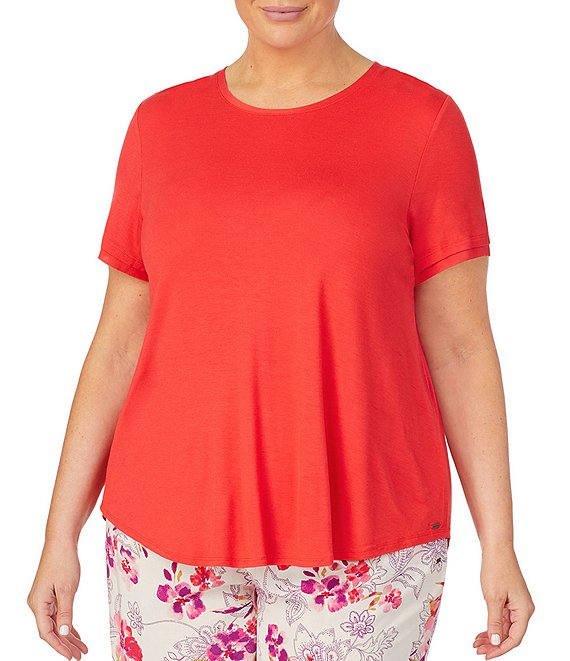 Color:Red - Image 1 - Plus Solid Jersey Knit Sleep Top