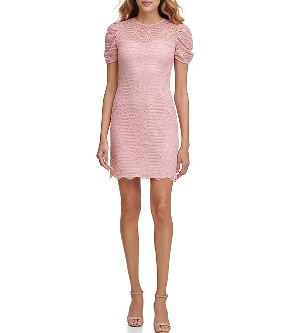 Color:Blush - Image 1 - Short Puff Sleeve Corded Lace Sheath Dress