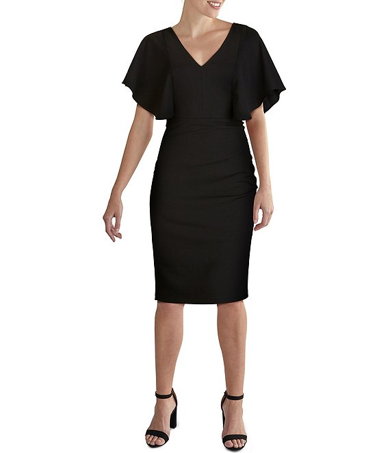 Color:Black - Image 1 - V-Neck Flutter Sleeve Scuba Crepe Sheath Dress