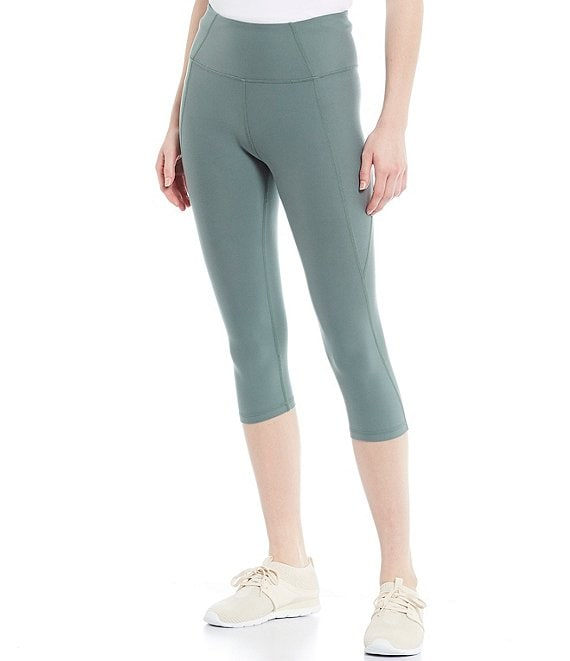 Color:Laurel Wreath - Image 1 - High Rise Knee Length Suede Jersey Leggings