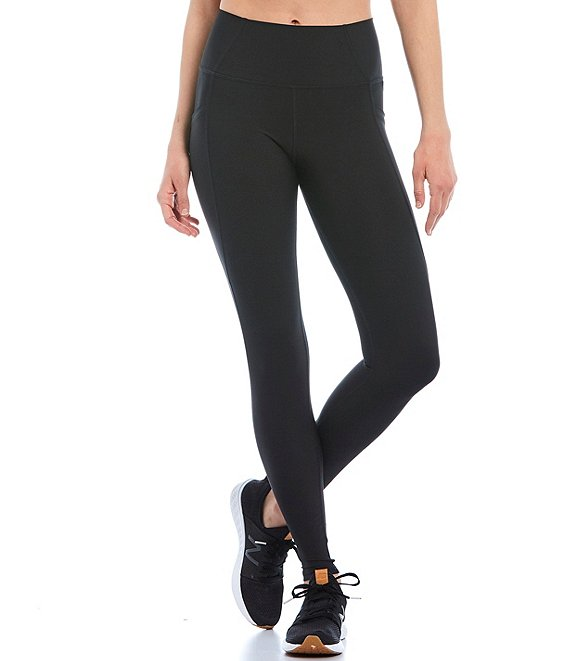 Color:Black - Image 1 - High Rise Moisture Wicking Ankle Leggings