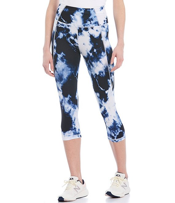 Color:Navy/White Cloud - Image 1 - High Rise Navy/White Cloud Knee Leggings