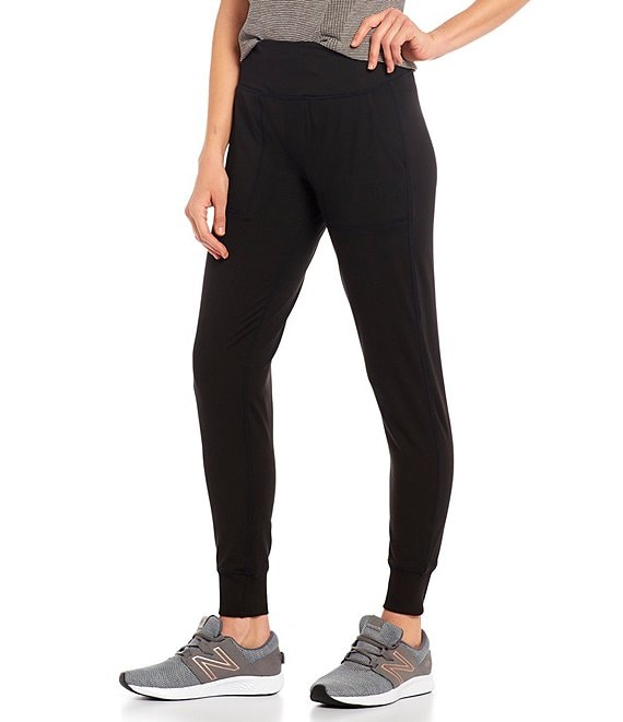 Color:Black - Image 1 - High Rise Slim Sueded Jersey Joggers