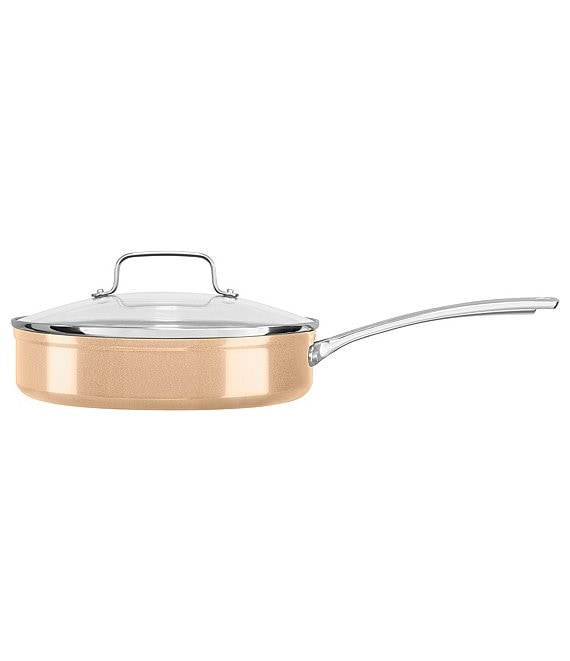 KitchenAid Toffee Delight Hard Anodized Nonstick Saute with Glass Lid