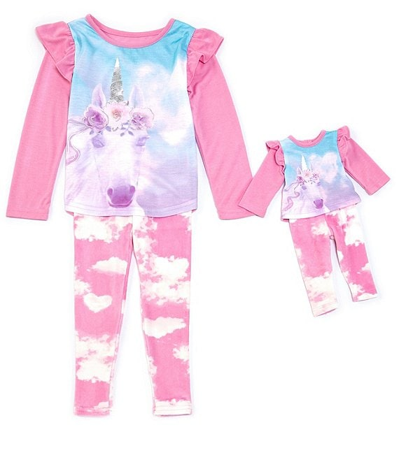 Komar Kids Little/Big Girls 4-14 Unicorn Two-Piece Pajamas & Doll Pajamas Set