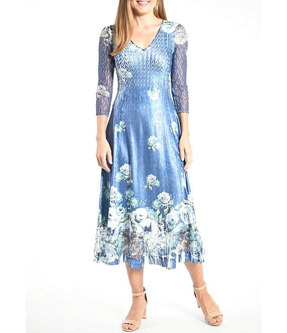 Color:Sapphire Blue Rose - Image 1 - 3/4 Lace Sleeves Pleated Charmeuse Floral Print A-Line Midi Dress