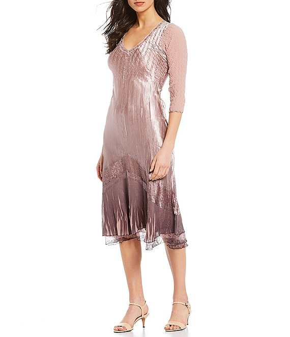 Color:Taupe Rose - Image 1 - Beaded V-Neck Pleated Tiered Ombre Charmeuse Midi Dress
