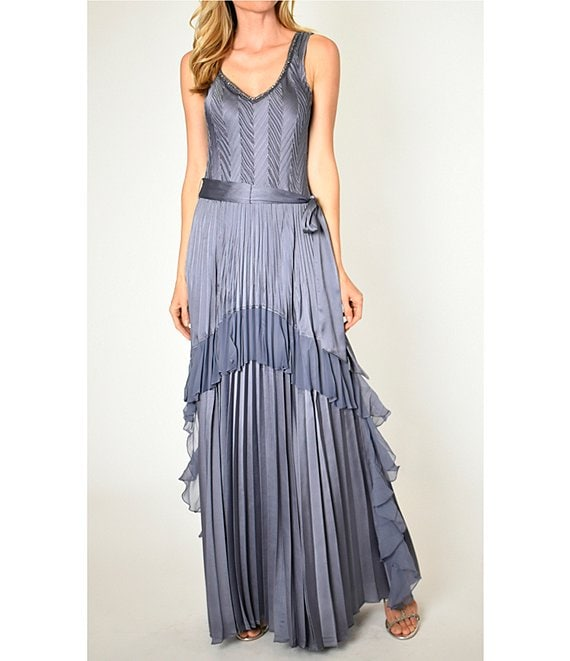 Komarov Beaded V-Neck Sleeveless Pleated Charmeuse & Chiffon Gown