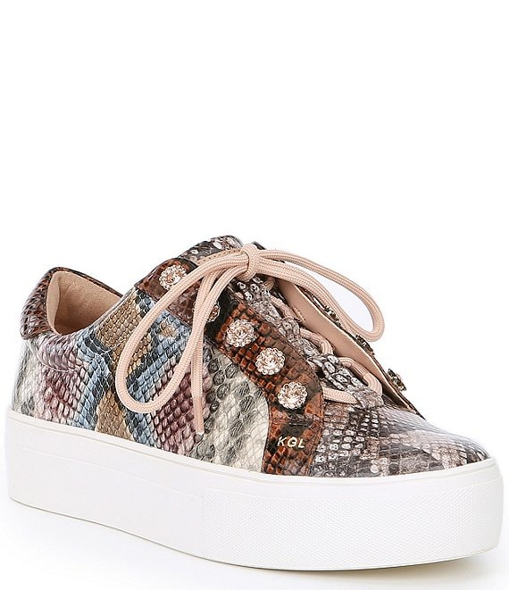 Color:Brown - Image 1 - Liviah Snake Print Leather Jewel Stud Detail Lace-Up Sneakers