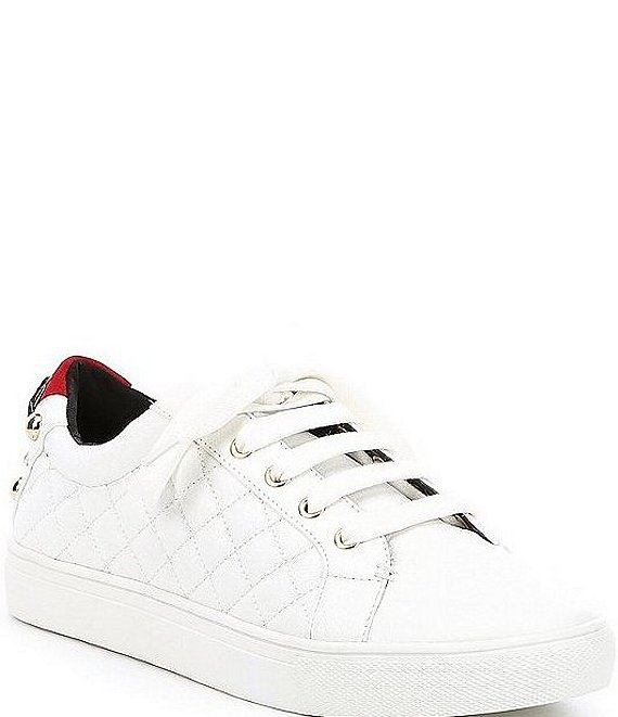 Color:White - Image 1 - Ludo Leather Lace Up Sneakers