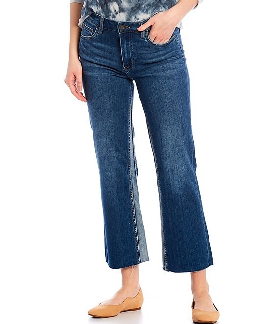 Color:Overtake with Medium Base Wash - Image 1 - Kelsey High Rise Flare-Leg Raw Hem Ankle Jeans