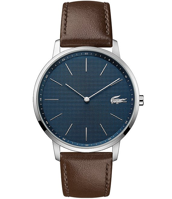 Color:Silver - Image 1 - Moon Ultra Slim Brown Leather Strap Watch