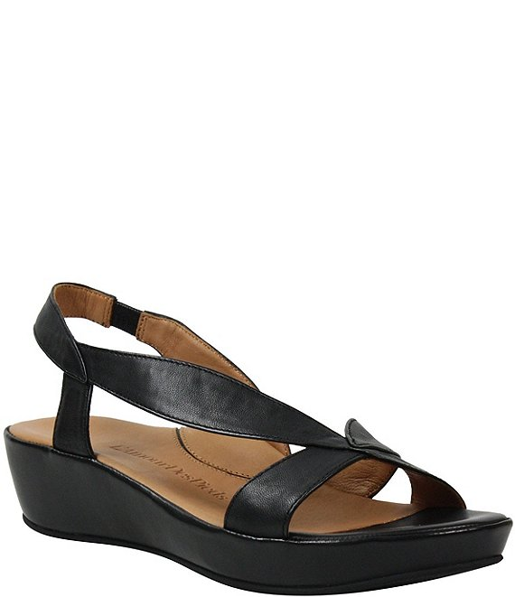 Color:Black - Image 1 - Crotono Slingback Leather Wedge Sandals