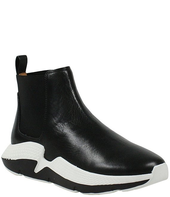 Color:Black Lamba - Image 1 - Haddy Leather Chelsea Sneaker Booties