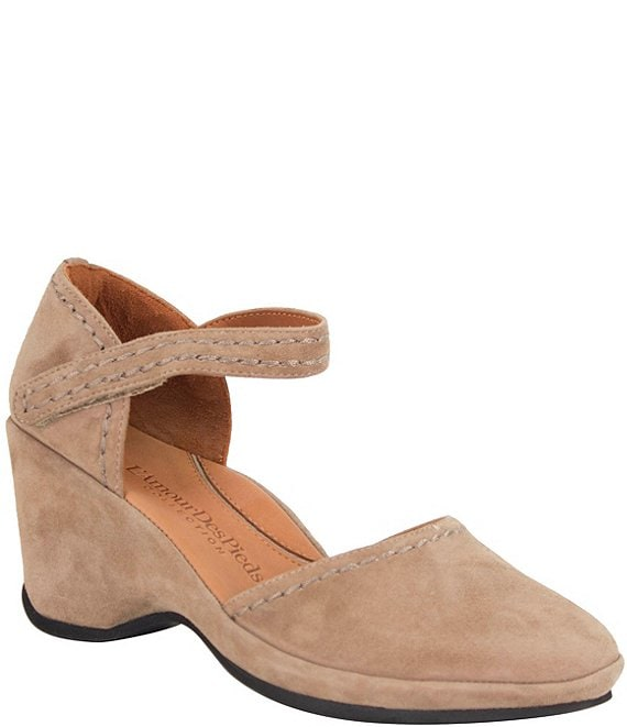 Color:Taupe - Image 1 - Orva Suede Ankle Strap Pumps