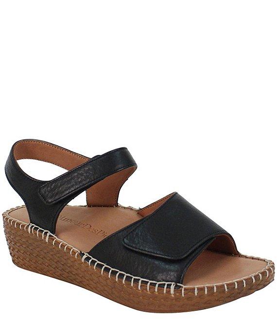 Color:Black Lamba - Image 1 - Yahya Leather Espadrille Wedge Sandals