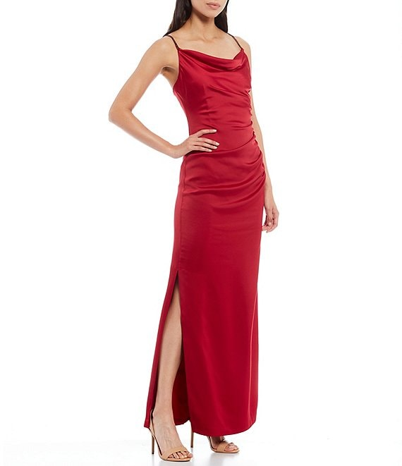Color:Ruby - Image 1 - Stretch Satin Square Drape Neck Ruched Bodice Side Slit Slip Gown