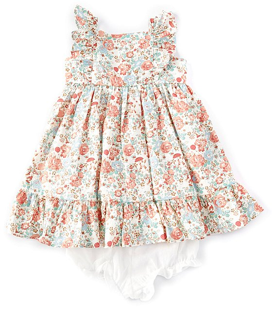 Color:Pink/Blue/White - Image 1 - Baby Girls Newborn-24 Months Flutter-Sleeve Floral/Bunny-Print Dress