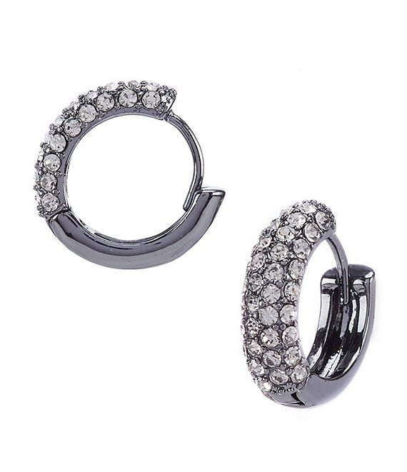 Lauren Ralph Lauren Black Diamond Pave Huggie Earrings