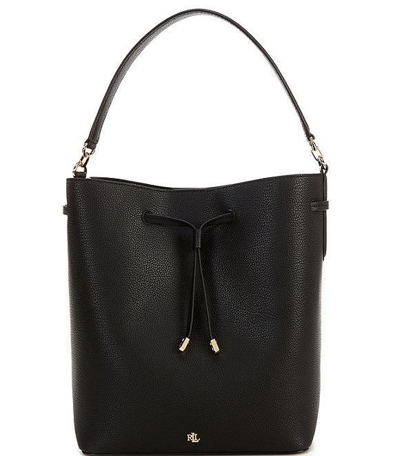 Color:Black - Image 1 - Debby Large Pebble Leather Drawstring Crossbody Bag