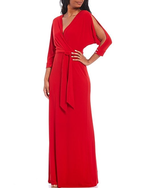 Color:Orient Red - Image 1 - Matte Jersey V-Neck Split 3/4 Sleeve Faux Wrap Gown