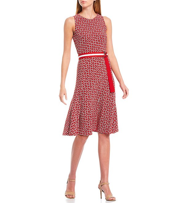 Color:Orient Red/Colonial Cream/Lighthouse Navy - Image 1 - Felia Printed Luzon Links Print Belted Matte Jersey Sleeveless Dress