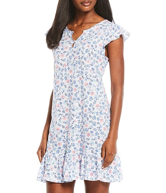 Color:White/Blue - Image 1 - Floral Print Flutter Sleeve Knit Nightgown