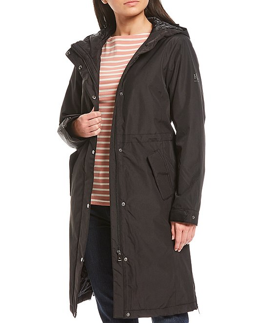 Color:Black - Image 1 - Hooded Quilt Lined Anorak Coat