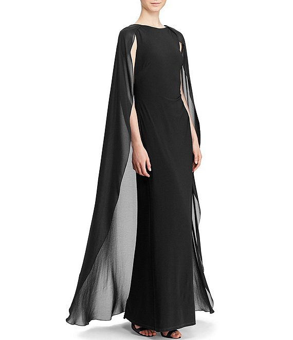 Color:Black - Image 1 - Hopelee Georgette Cape Gown