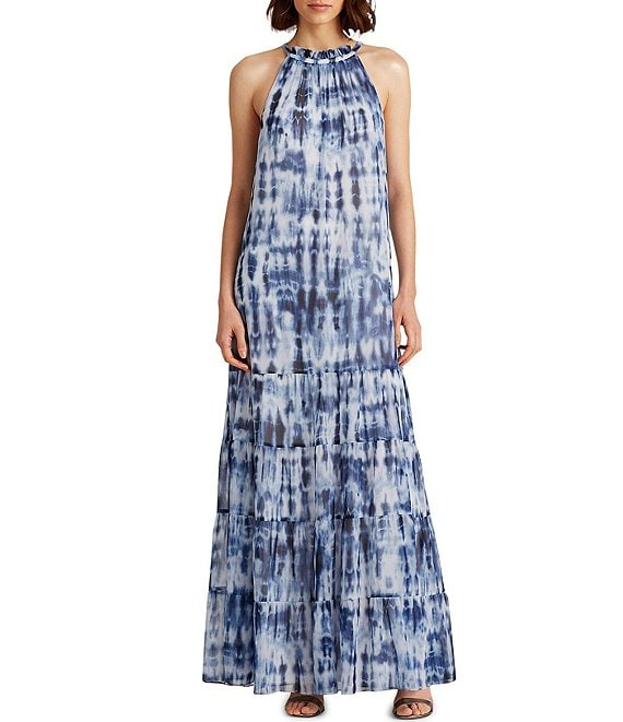Color:Navy/Blue/Multi - Image 1 - Karmina Tiered Tie Dye Sleeveless Maxi Dress