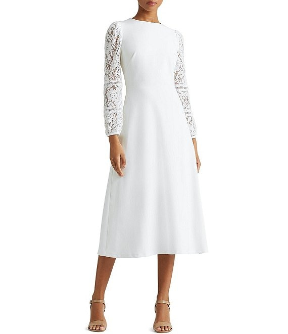 Color:Lauren White - Image 1 - Kynan Lace Puff Sleeve Crepe Midi Dress