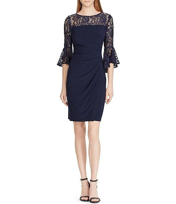 Color:Lighthouse Navy - Image 1 - Lace Bell Sleeve Side Ruched Detail Jersey Dress