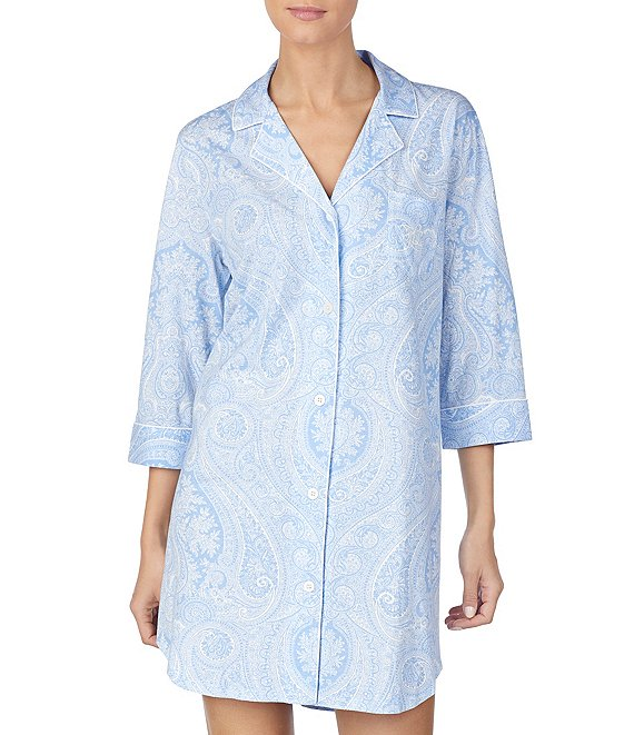 Color:Blue Paisley - Image 1 - Long-Sleeve Classic Notch-Collar Knit Sleep Shirt
